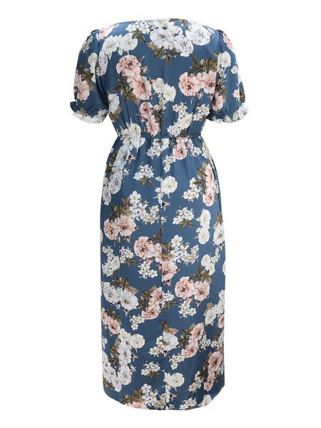 Milanoo Vestido de verano floral Vestido de playa con cuello cuadrado