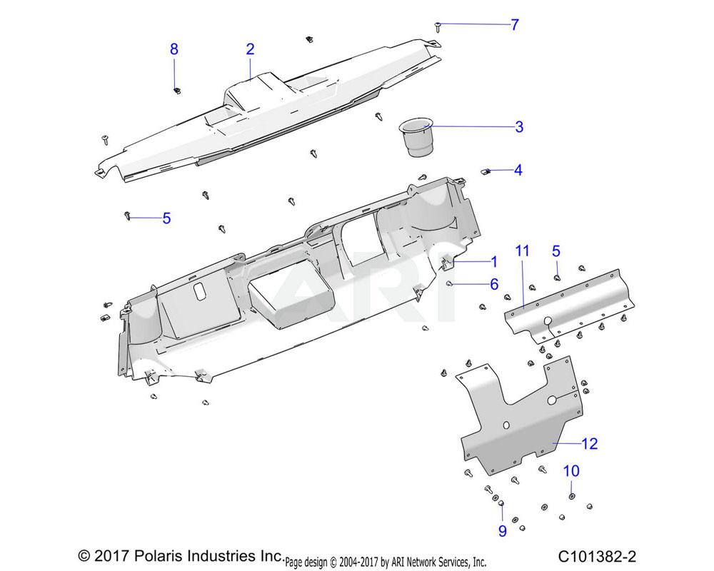 Polaris OEM 5454546-070 DASH-UPPER, MZ, BLK