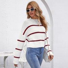 Drop Shoulder Striped Crop Sweater