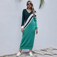 V-neck Drop Shoulder Sweater Dress
