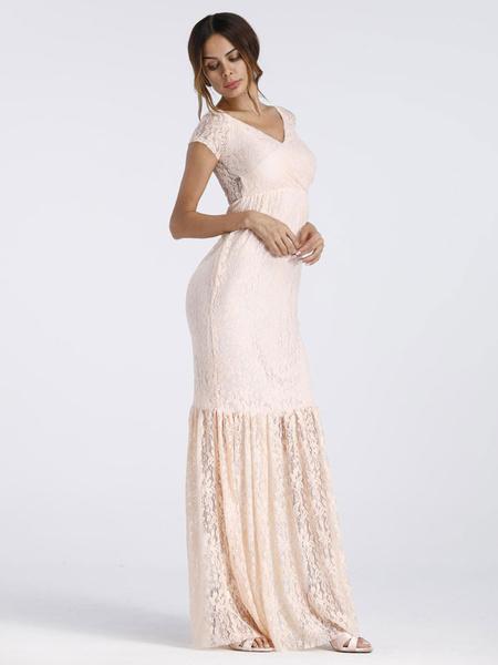 Milanoo White Maxi Dress for Maternity Lace Mermaid Photoshoot Baby Shower Dress V Neck Short Sleeve Pregnant Dress