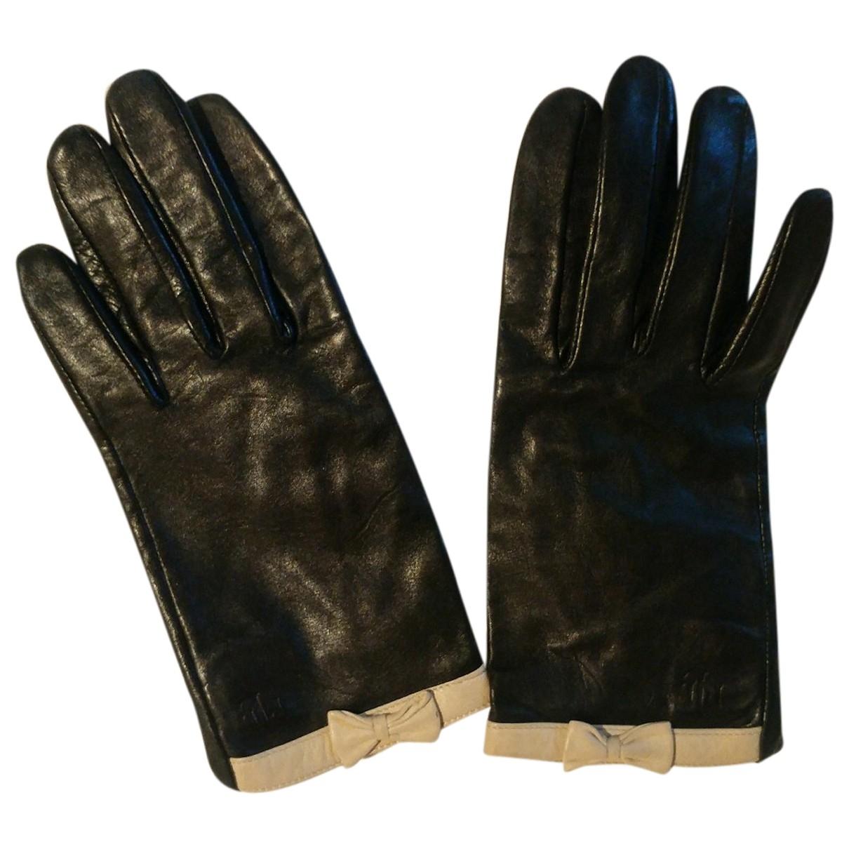 Lauren Ralph Lauren \N Black Leather Gloves for Women S International