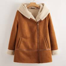 Plus Zip Up Teddy Cuff and Lined Suede Hooded Coat