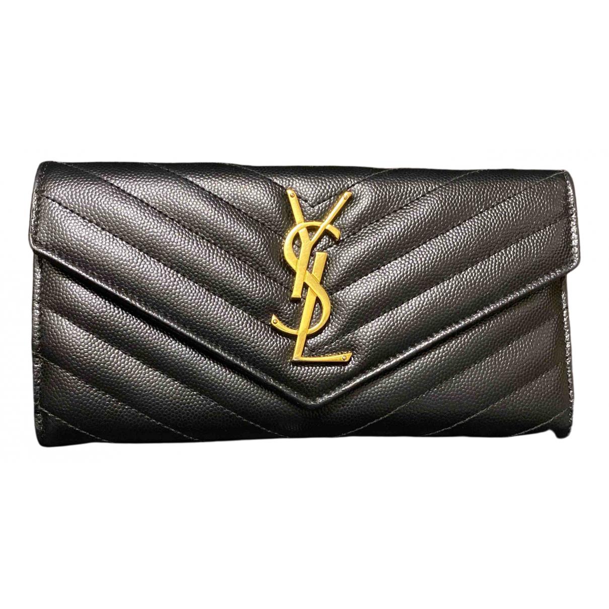 Yves Saint Laurent Belle de Jour Black Leather wallet for Women N