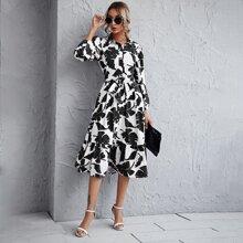 Tropical Print Button Front Belted Ruffle Hem Dress