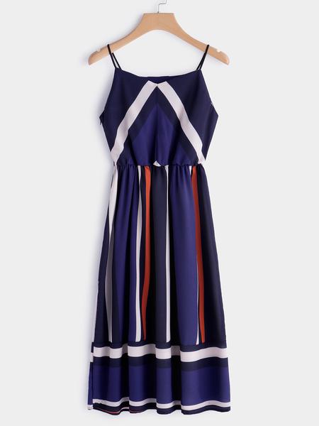 Yoins Color Block V-neck Sleeveless Spaghetti Beach Dress in Navy