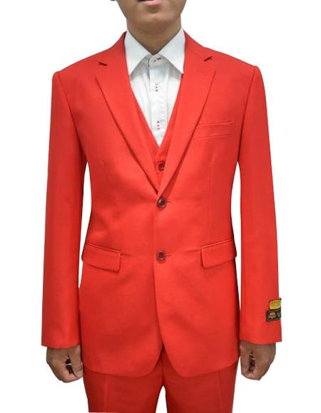 Alberto Nardoni Mens Vested 3 Piece Suit Red