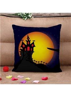 Unique Halloween Castle Print Throw Pillow Case