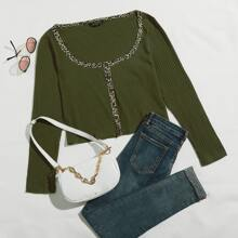 Plus Button Front Leopard Panel Rib-knit Tee