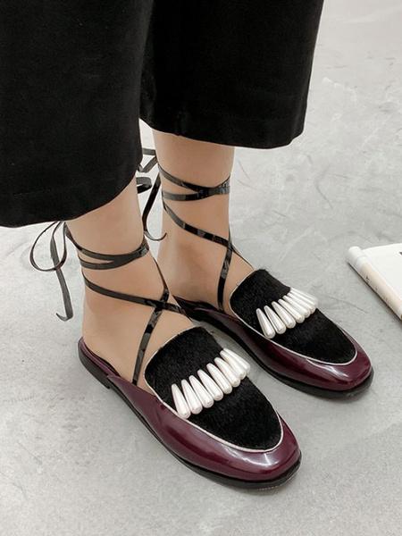 Milanoo Women\'s Mules Clogs PU Leather Black Square Toe Slip-On Cross Mules