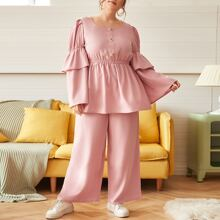 Plus Button Front Layered Bell Sleeve Top and Wide Leg Pants Set