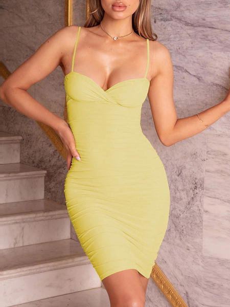 Milanoo Sexy Bodycon Dresses Yellow Sweetheart Sleeveless Backless Ruched Club Dress