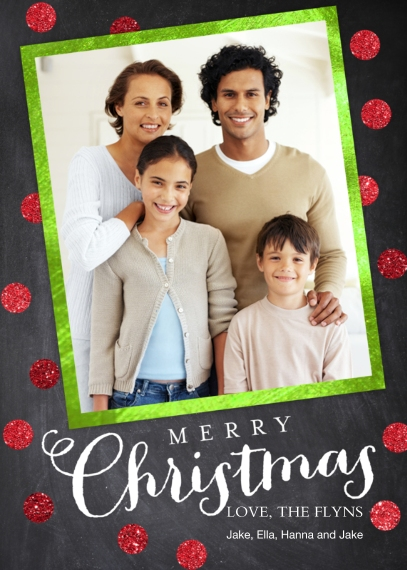 Christmas Photo Cards Flat Matte Photo Paper Cards with Envelopes, 5x7, Card & Stationery -Chalkboard Dots Christmas by Posh Paper