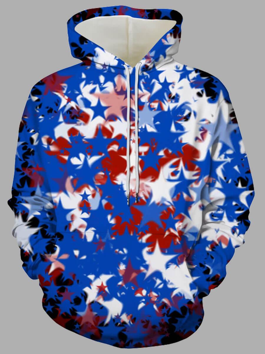 LW Lovely Stylish Hooded Collar Print Blue Men Hoodie