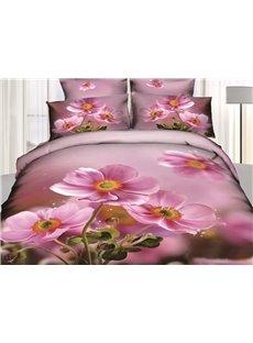 3D Pink Crocus Printed Cotton 4-Piece Bedding Sets/Duvet Covers