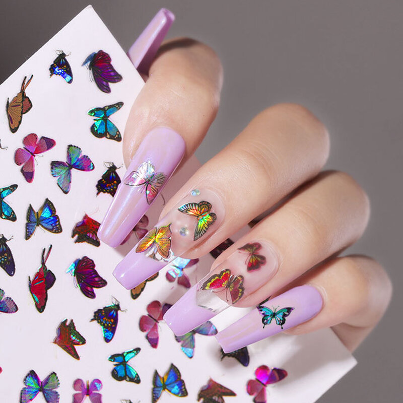 3D Waterproof Butterfly Nail Art Stickers Cute Simulation Laser Watermark Manicure Decorations Stickers