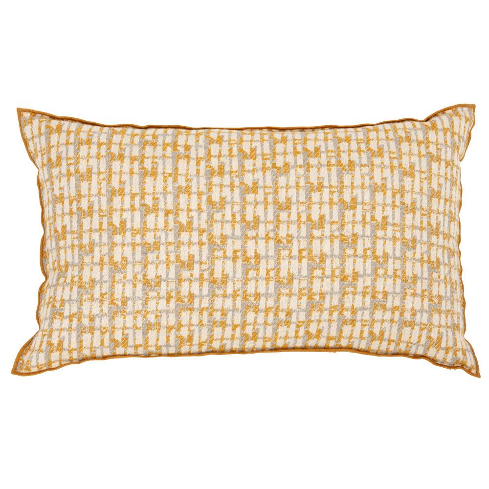 Kissenbezug aus Baumwolle, gelb und ecrufarben mit Stickereien 30x50