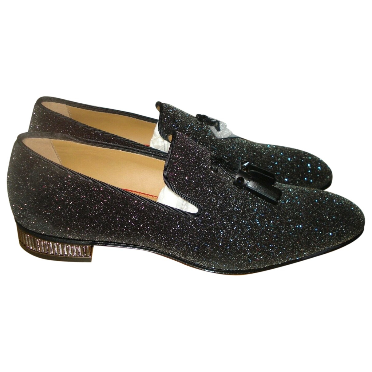 Christian Louboutin \N Black Glitter Flats for Men 39 EU