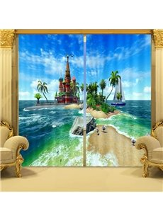 3D Dreamy Castles on the Sea Printed Living Room and Bedroom Custom Blackout Curtain