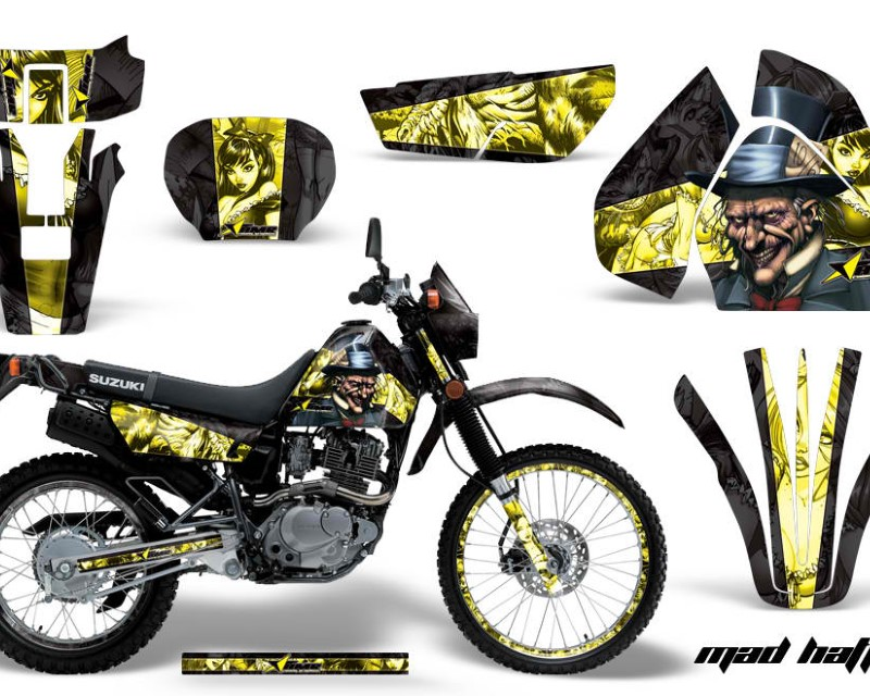 AMR Racing Graphics MX-NP-SUZ-DRZ200SE-96-09-HAT K Y Kit Decal Sticker Wrap + # Plates For Suzuki DRZ200SE 1996-2009áHATTER BLACK YELLOW