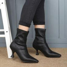 Square Toe Spool Heeled Ankle Boots