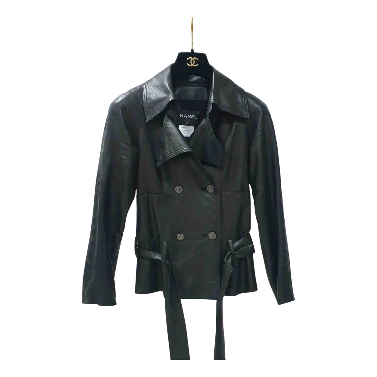 Chanel N Black Leather Leather jacket for Women 36 FR