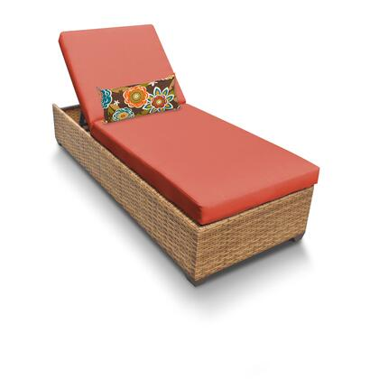 LAGUNA-1x-TANGERINE Laguna Chaise Outdoor Wicker Patio Furniture with 2 Covers: Wheat and