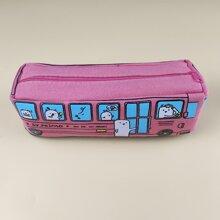 Cartoon Animal Bus Shaped Pencil Bag