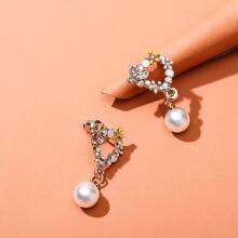 Pendientes largos con flor con perla artificial