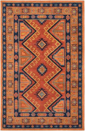 ABA6268-7696 7 6 x 9 6 Rug  in Terracotta and Burnt Orange and Bright Orange and Lime and Navy and Teal and