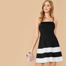 Zip Back Color Block Cami Dress