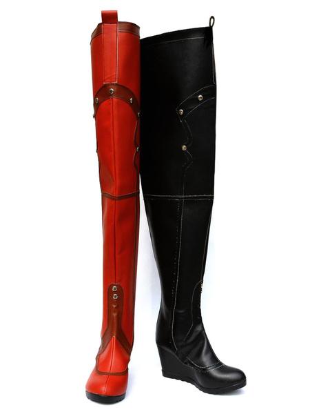 Milanoo Batman Arkham Asylum Harley Quinn Black And Red Costume Cosplay Shoes Halloween