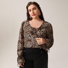 Plus Criss-cross Tie Front Leopard Print Blouse