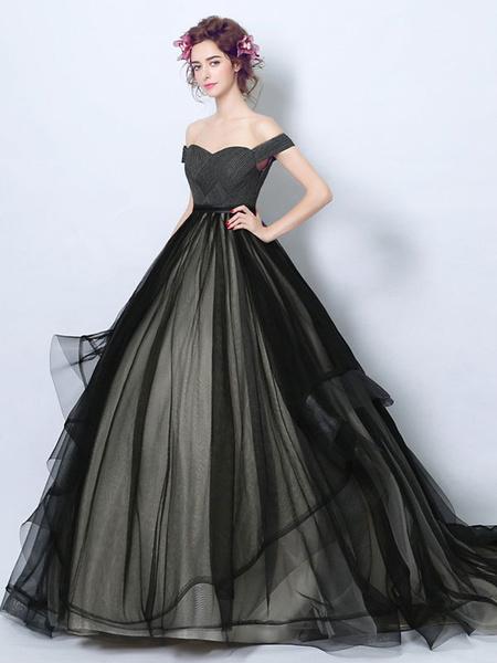 Milanoo Vestidos de novia leales goticos Princesa Silueta Sin mangas Plisado Tulle Court Train Vestido de novia