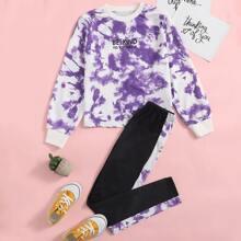 Girls Slogan Graphic Tie Dye Pullover & Contrast Sideseam Leggings Set