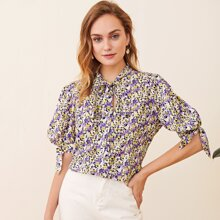 Tie Neck and Cuff Floral Top