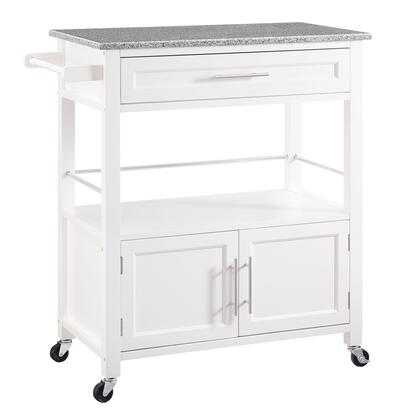 BM144036 Spacious Wooden Kitchen Cart with Granite Inlaid Top  White and