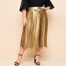 Plus Zipper Side Fringe Detail PU Skirt