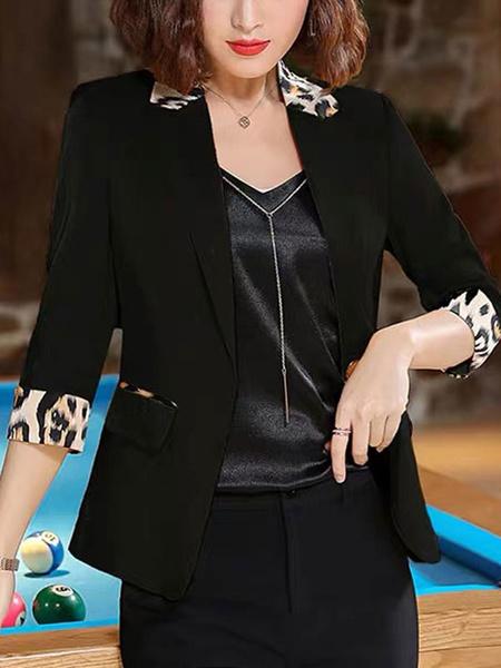 Milanoo Women Blazer Chic Turndown Collar Buttons Long Sleeves Leopard Print Layered