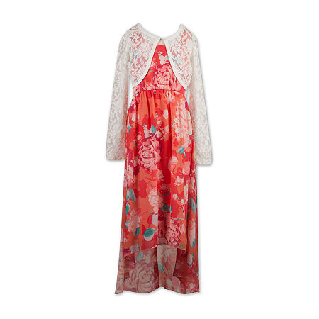 Speechless Big Girls Sleeveless Floral Maxi Dress, X-large , Orange