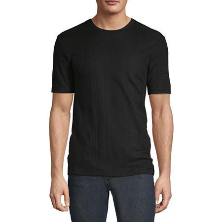 Axist Ribbed Mens Crew Neck Short Sleeve T-Shirt, Medium , Black