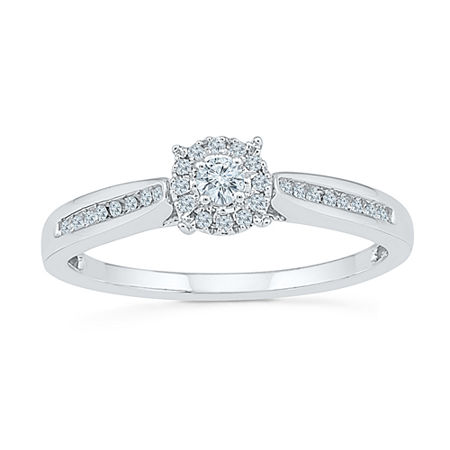 Promise My Love Womens 1/6 CT. T.W. Genuine White Diamond Sterling Silver Round Promise Ring, 4 , No Color Family