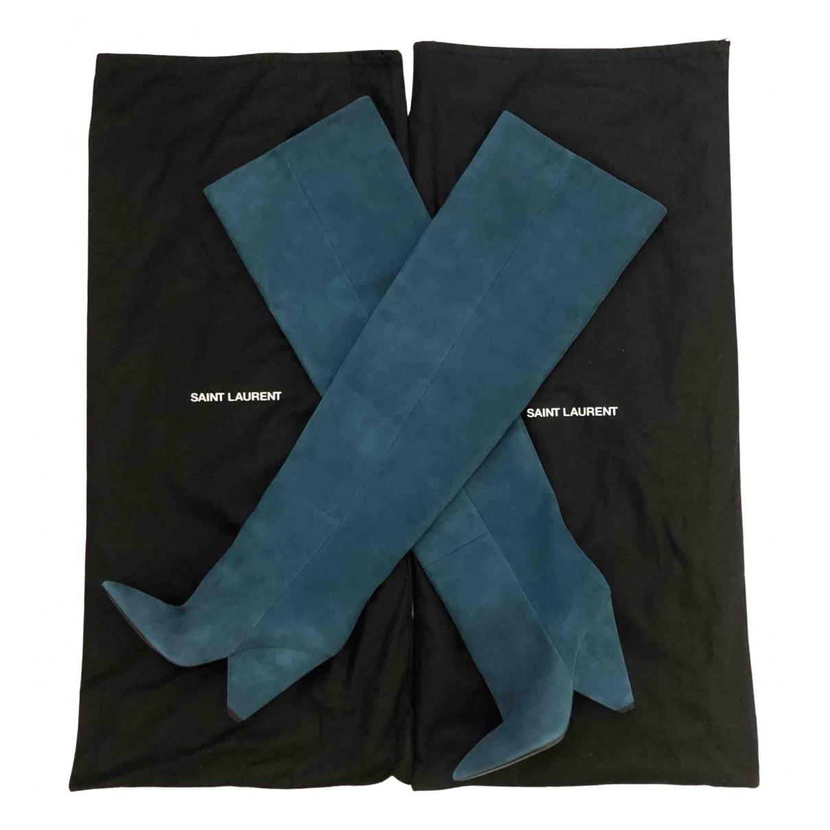 Saint Laurent Niki Stiefel in  Blau Veloursleder