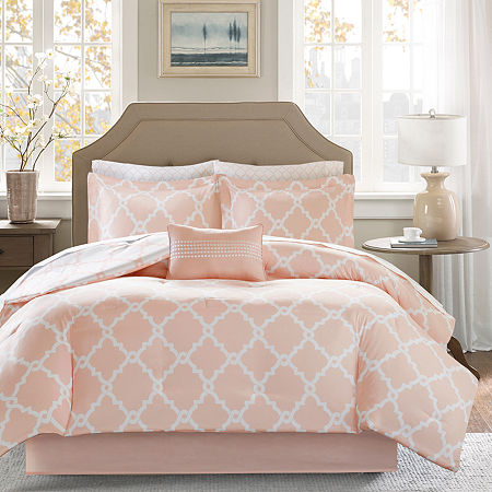 Madison Park Essential Almaden Complete Reversible Bedding Set with Sheets, One Size , Pink