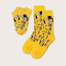 2pairs Figure Graphic Socks