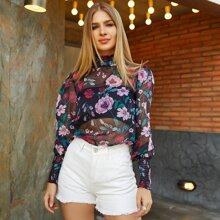 Eilly Bazar Top mit Ruesche, hohem Kragen, Blumen Muster ohne BH