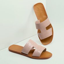 Dual Cut Out Croc Embossed Flat Slide Sandals