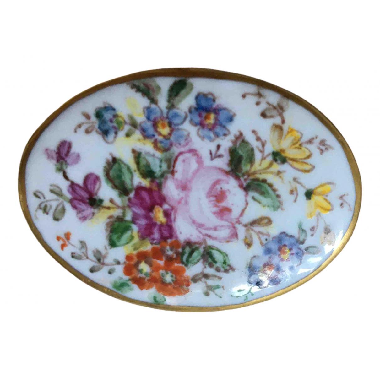 Non Signé / Unsigned Motifs Floraux Multicolour Porcelain Pins & brooches for Women \N