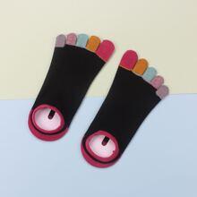 Color Block Five Toe Socks