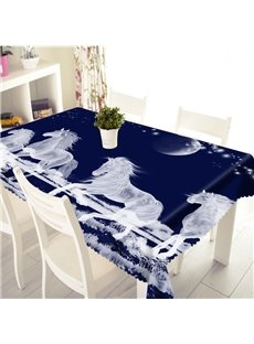 3D White Horses Running in Night Sky Printed Thick Polyester Table Cover Cloth